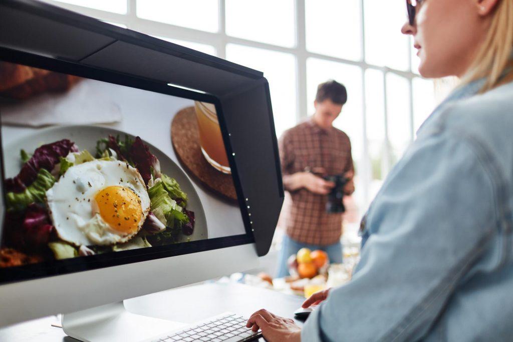 Professional food videographers editing
